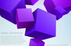 Vector Purple 3D Cubes Background