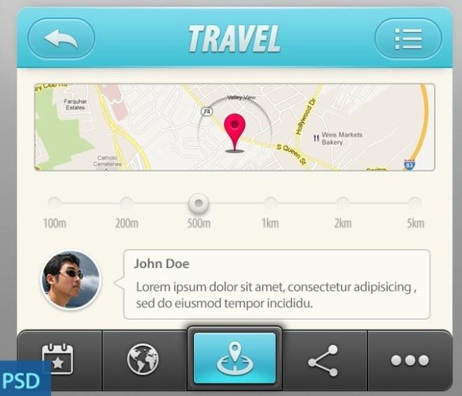 Travel App UI Elements PSD