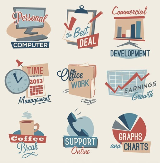 Vector Vintage Business Icons