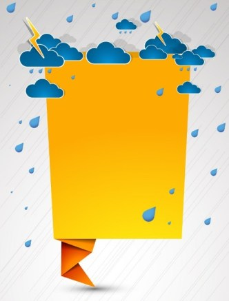Vector Blank Paper Folding Speech Bubble with Clouds