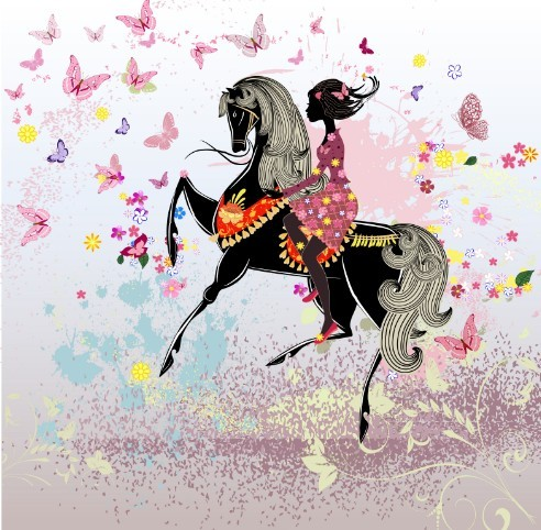 Vector Horse Riding Girl With Flower and Butterfly Background