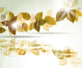 Vector Romantic Yellow Leaves In The Rain