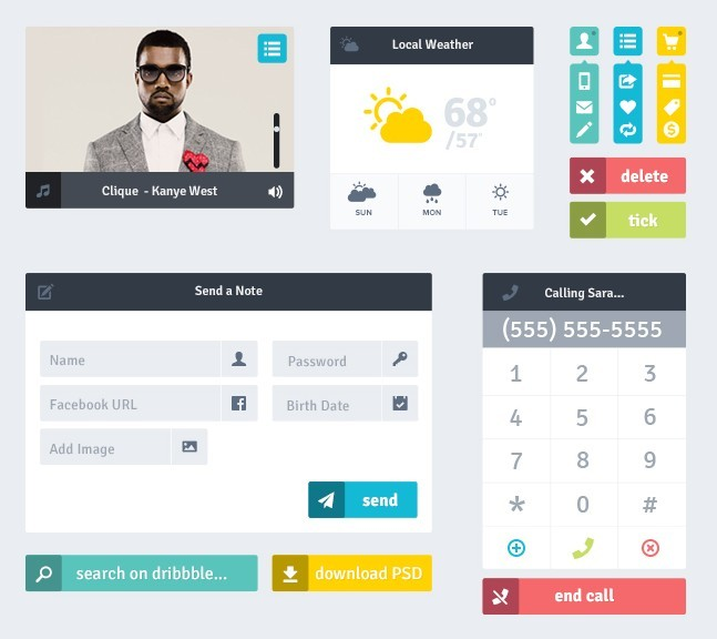 Simple and Clean Flat Mobile UI Kit PSD