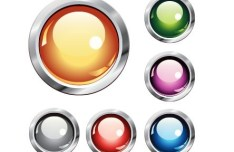 Colorful & Glossy Vector Circular Buttons with Metal Borders 01