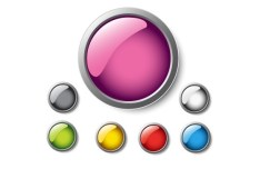 Colorful & Glossy Vector Circular Buttons with Metal Borders 02
