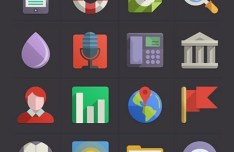 Flat Design Web Icons Pack PSD