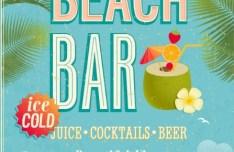 Retro Beach Bar Poster Vector Template 01