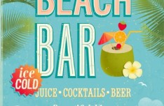 Retro Beach Bar Poster Vector Template 01