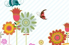 Cartoon Hand Painted Floral Background Vector 01