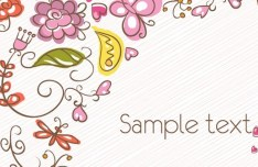 Cartoon Hand Painted Floral Background Vector 03