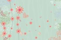 Cartoon Spring Bird and Flowers Background 04