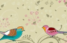 Cartoon Spring Bird and Flowers Background 05