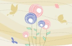 Cartoon Spring Bird and Flowers Background 06