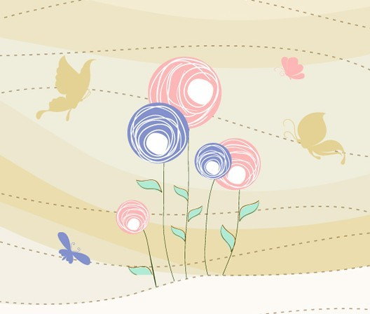 Cartoon Spring Bird and Flowers Background 06