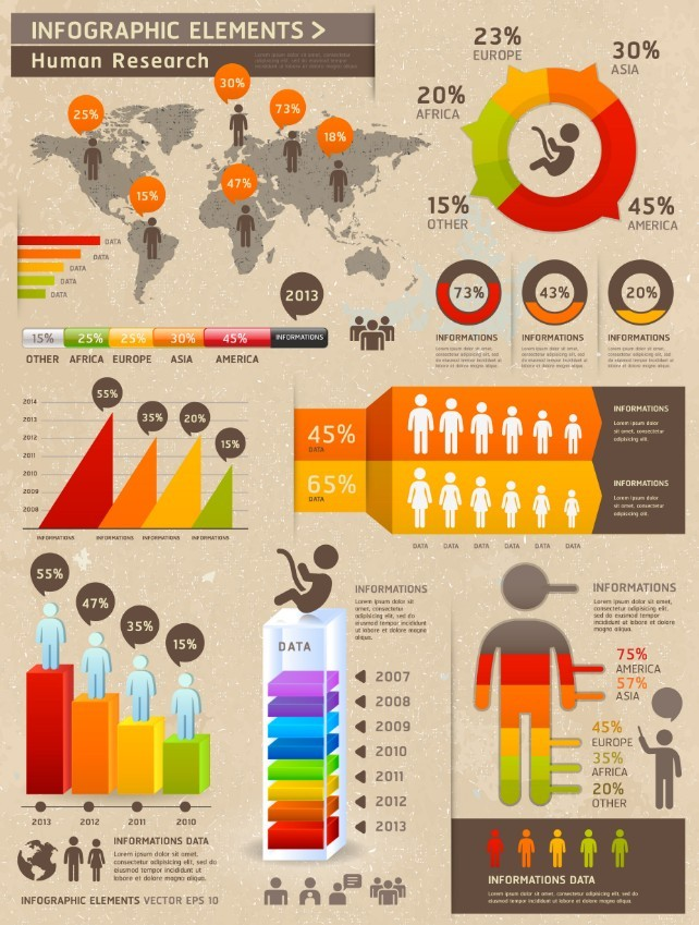 Vector Human Research Infographic Elements