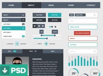 Dark and Green Flat Style Web UI Kit PSD