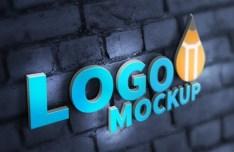 Realistic 3D Logo PSD Mockup