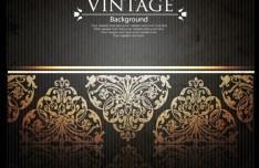 Vintage Golden Floral Pattern Vector Background 04