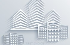 3D Abstract Building Background Vector