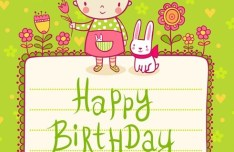 Lovely Cartoon Happer Birthday Elements Vector Illustration