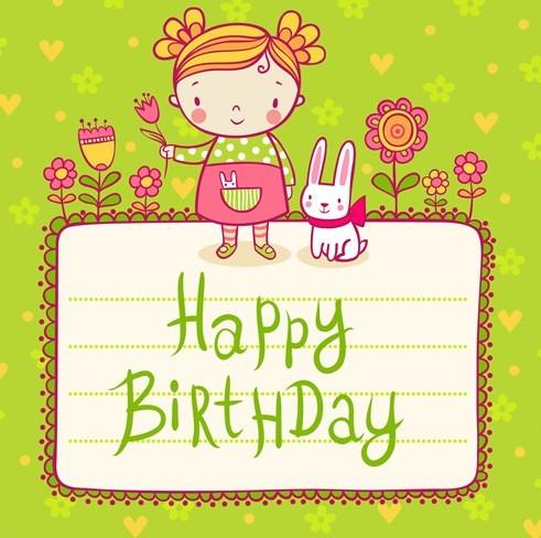 Lovely Cartoon Happer Birthday Elements Vector Illustration