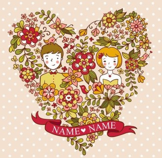 Lovely Cartoon Lovers and Floral Heart Vector Illustration