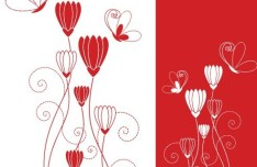 Vector Abstract Red & White Flowers 01