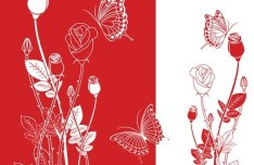Vector Abstract Red & White Flowers 02