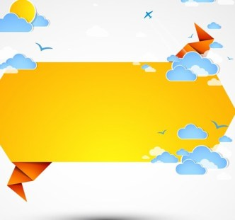 Abstract Origami Text Background with Clouds and Rainfall 02