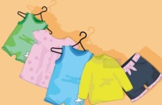 Cute Children's Clothing On hangers Vector 05