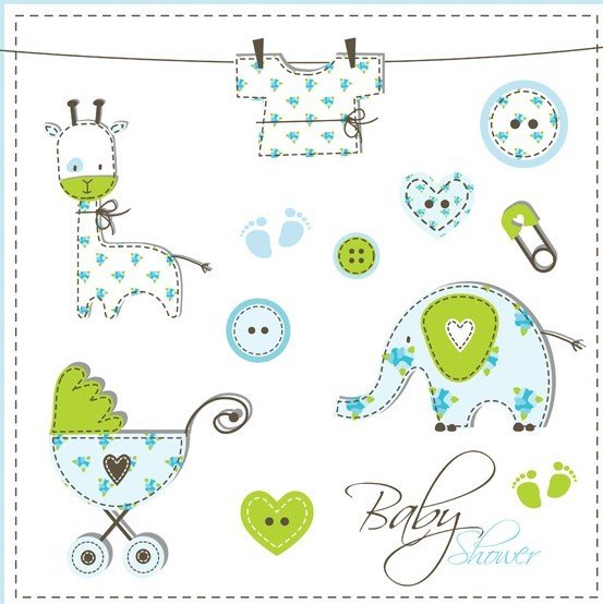 Lovely Baby Shower Elements Vector Illustration 03