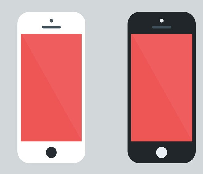 Flat Style White and Black iPhone PSD Mockup