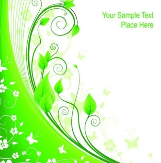 Fresh Green Floral Background Vector 01