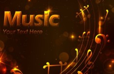 Golden Music Background with Musical Notes Vector