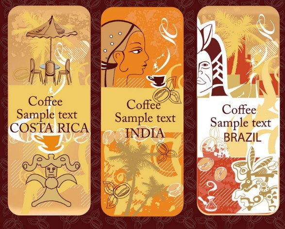 Set Of Vintage Rounded Coffee Banners Vector 02