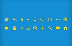 18 Mini Glyph Icons PSD