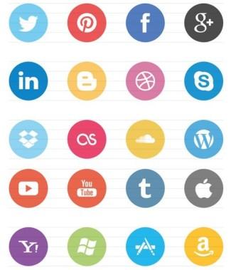 Cool Minimal Flat Socila Media Icons