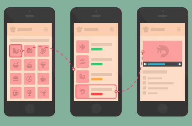 Flat Designed Mobile Cooking App Wireframe PSD