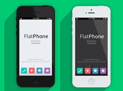 iPhone 5 Flat Design Psd Mockup Template