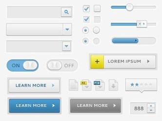 Minimal Blue and Grey UI Elements PSD