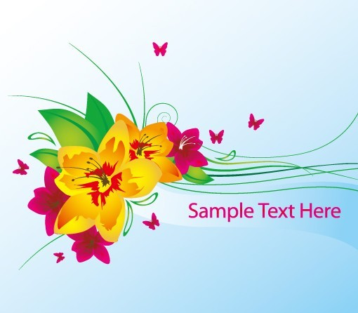 Free Vector Spring Flowers And Butterflies Illustration 01