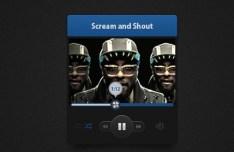 Dark Audio Player Widget PSD