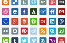 35+ Flat Designed Social Media Icons