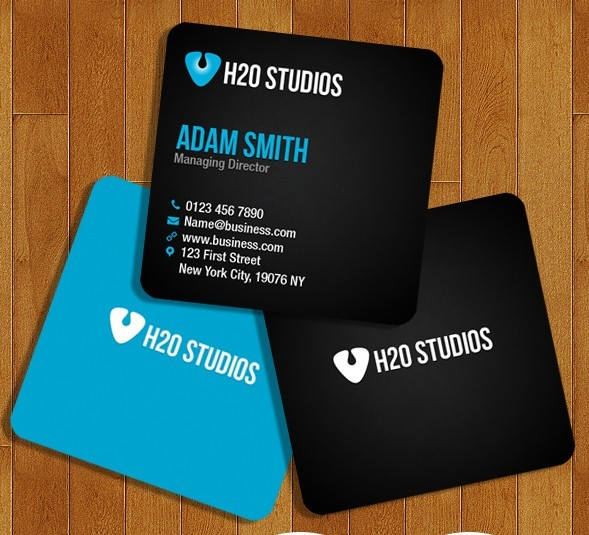 Black and Blue Mini Business Cards PSD