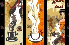 Set Of Vintage Coffee and Beauty Banners