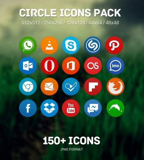 150+ Flat Circle Social Icons Pack