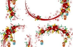 Christmas Wreaths with Ribbons and Bows Vector 03