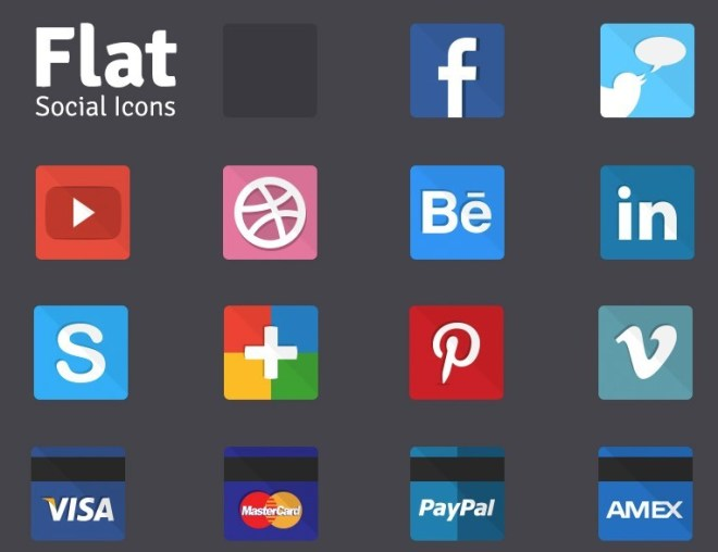 Flat Social and Payment Method Icons