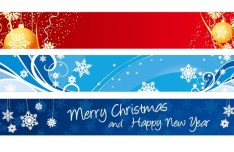 Set Of 3 Simple Merry Christmas Banners Vector