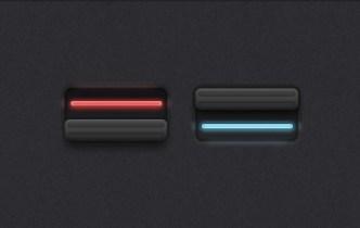 Stylish Dark Switch Buttons PSD